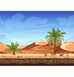 Seamless background - palm trees in desert vector