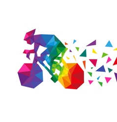 Bicyclist abstract triangle vector