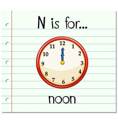 Flashcard letter n is for noon vector