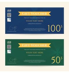 Gift voucher gift certificate blue green vector