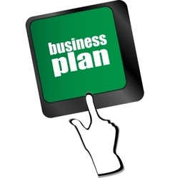 Business plan button on computer keyboard key vector