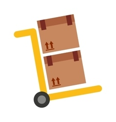Handcart cart boxes carton icon vector