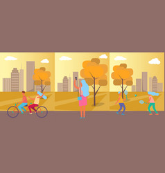 active people practising in park vector image vector image