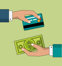 Colorful background of transaction in cash and vector