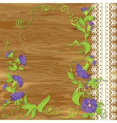 Convolvulus flowers on wood baskground vector