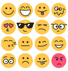 emotional round faces set vector image vector image