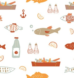 Fish and chips seamless pattern - sketchy vector image