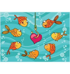 fish and heart vector image