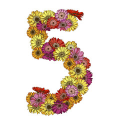 Five digit made of multicolored daisies flowers vector