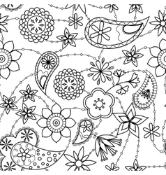 Flowers and paisley pattern coloring vector image vector image