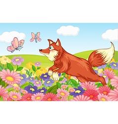 Fox and flies in garden vector image vector image