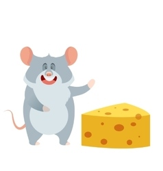 Grey mouse and a piece of cheese vector