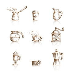 Hand drawn coffee icon set vector image vector image