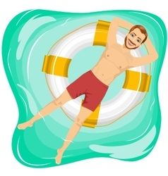 Handsome man floating on an inflatable circle vector