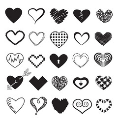 Hearts Design Icons Set vector image vector image