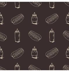 Hotdogs hand drawn seamless pattern vector
