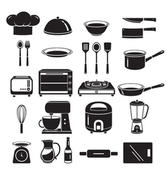 Kitchen Equipment Icons Set Monochrome vector image vector image