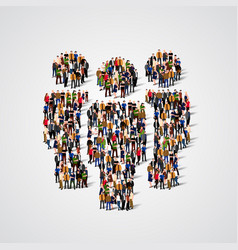 large group of people in team sign shape vector image vector image