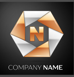 letter n logo symbol in the colorful hexagon on vector image vector image