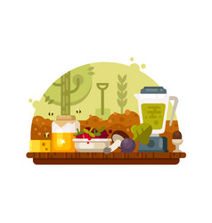 Organic food vegetables fruits vector