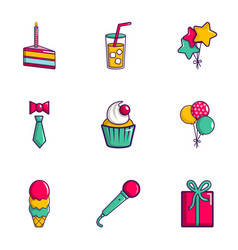 party icons set flat style vector image