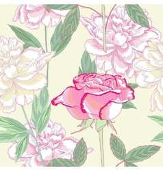 Seamless pattern with peonies and rose vector