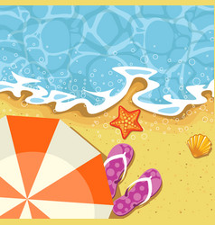 seaside summer vacation - parasol send and wave vector image