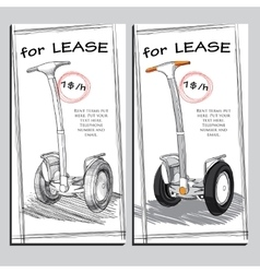 Set lease brochure with hand drawn segway with vector