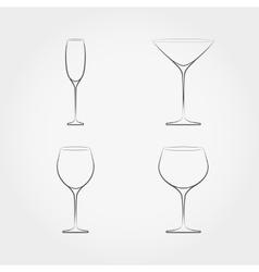 Simple set of classic stemware vector image