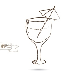 Sketch of Wine Glass Isolated On The White vector image vector image
