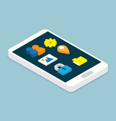 smartphone with application isometric vector image