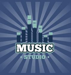 sound record studio logo badge emblem vector image vector image