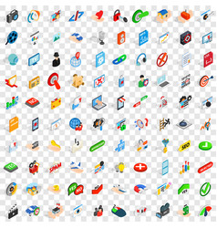 100 cyber security icons set isometric 3d style vector