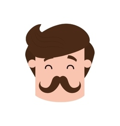 Man mustache male avatar head person icon vector