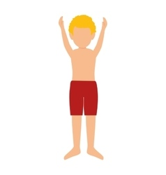 Boy wearing red swimsuit pants vector
