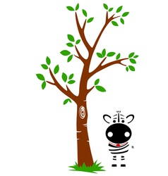 Tree and zebra vector