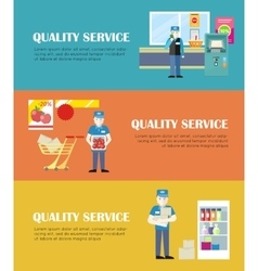 Set of quality service in shop banners vector