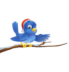 christmas bluebird pointing vector image
