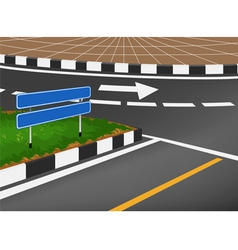 Traffic sign with road in city vector