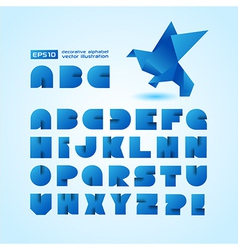 Decorative alphabet with origami object vector