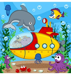 Animals on submarine vector