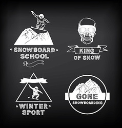 Snowboarding winter sport icon set vector
