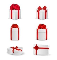 Set of white gift boxes with red bows and ribbons vector