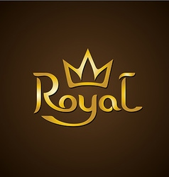 Royal golden letters text logo with crown vector