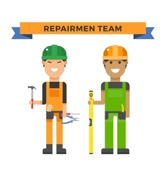 Cartoon workers couple and tools under vector