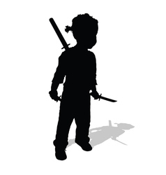 Child with swords silhouette vector