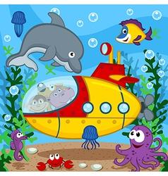 animals on submarine vector image vector image