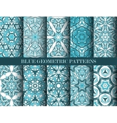 Blue geometric patterns collection vector image
