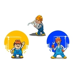 Cartoon builders anf engineer with tools vector image vector image