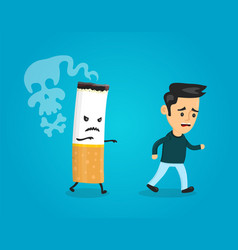 cigarette runs over man guy stop smoking vector image vector image